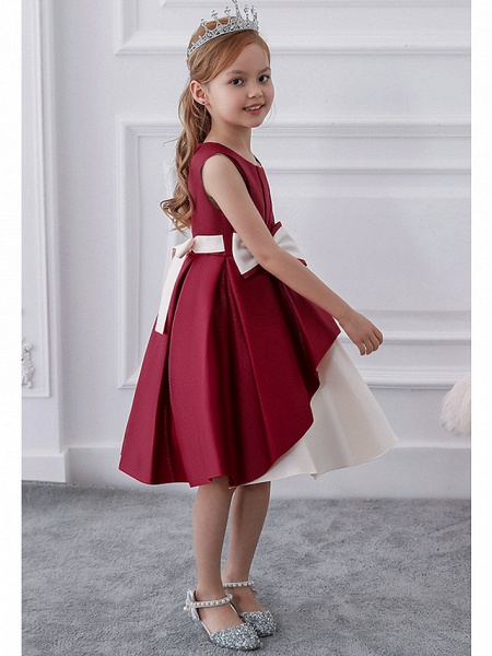 Princess / A-Line Knee Length Wedding / Party Flower Girl Dresses - Mikado Sleeveless Jewel Neck With Bow(S) / Tiered_3