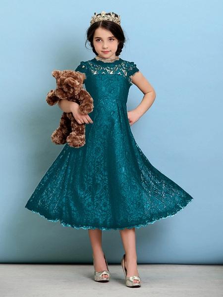 Princess / A-Line Jewel Neck Tea Length Lace Junior Bridesmaid Dress With Pleats / Natural_28