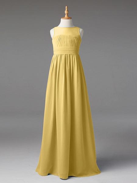 Princess / A-Line Jewel Neck Floor Length Chiffon Junior Bridesmaid Dress With Sash / Ribbon / Pleats_35