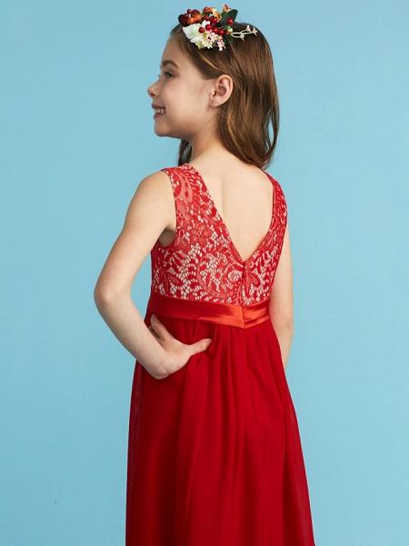 Sheath / Column Jewel Neck Floor Length Chiffon / Lace Junior Bridesmaid Dress With Sash / Ribbon / Appliques_6