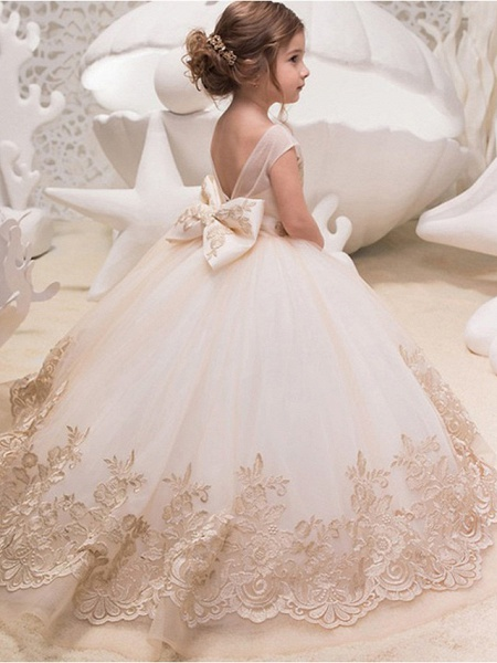 Princess / Ball Gown Sweep / Brush Train Wedding / Party Flower Girl Dresses - Lace / Tulle Cap Sleeve Jewel Neck With Bow(S) / Appliques_2