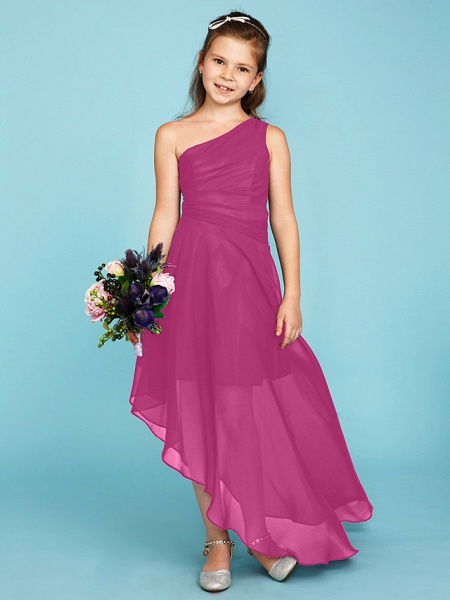 A-Line One Shoulder Asymmetrical Chiffon Junior Bridesmaid Dress With Side Draping / Wedding Party_25
