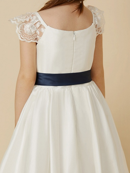 A-Line Ankle Length Wedding / First Communion Flower Girl Dresses - Taffeta Short Sleeve Scoop Neck With Sash / Ribbon / Bow(S)_7