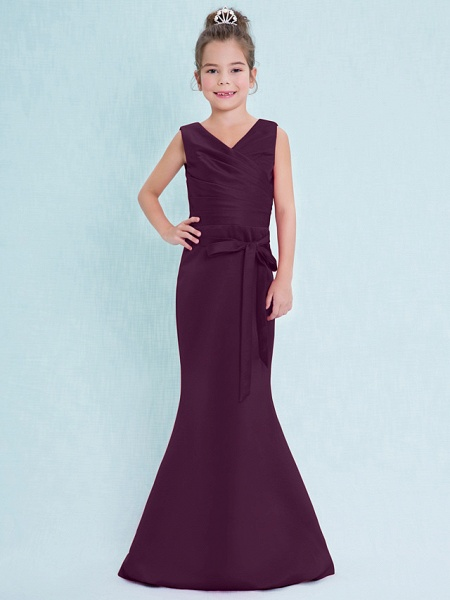 Mermaid / Trumpet V Neck Floor Length Satin Junior Bridesmaid Dress With Criss Cross / Natural_18