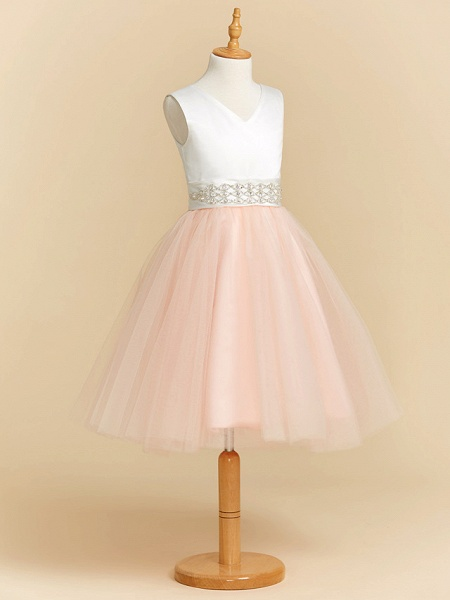 Ball Gown Tea Length Wedding / Party / Pageant Flower Girl Dresses - Satin / Tulle Sleeveless V Neck With Sash / Ribbon / Crystals_3