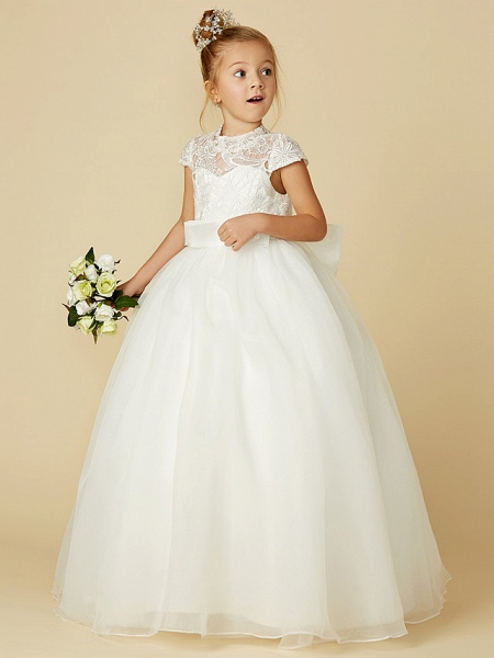 Ball Gown Floor Length Wedding / First Communion Flower Girl Dresses - Lace / Tulle Short Sleeve High Neck With Lace / Sash / Ribbon / Bow(S)_7
