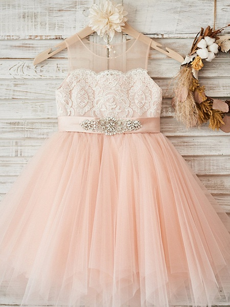 A-Line Ankle Length Wedding / Party Flower Girl Dresses - Lace / Tulle Sleeveless Jewel Neck With Sash / Ribbon / Crystals_1