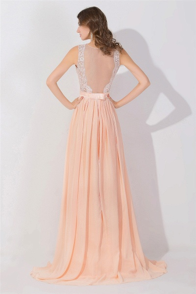 Lace Chiffon Long A-line Backless Evening Gown_3
