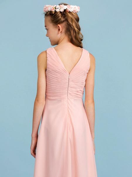Sheath / Column V Neck Floor Length Chiffon Junior Bridesmaid Dress With Criss Cross / Pleats / Wedding Party / Open Back_7