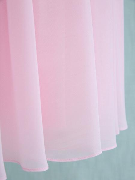 Sheath / Column Straps Knee Length Chiffon Junior Bridesmaid Dress With Ruffles / Side Draping / Natural_8