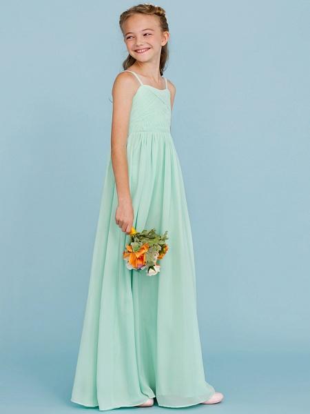 Princess / A-Line Spaghetti Strap Floor Length Chiffon Junior Bridesmaid Dress With Criss Cross / Pleats / Wedding Party / Open Back_1