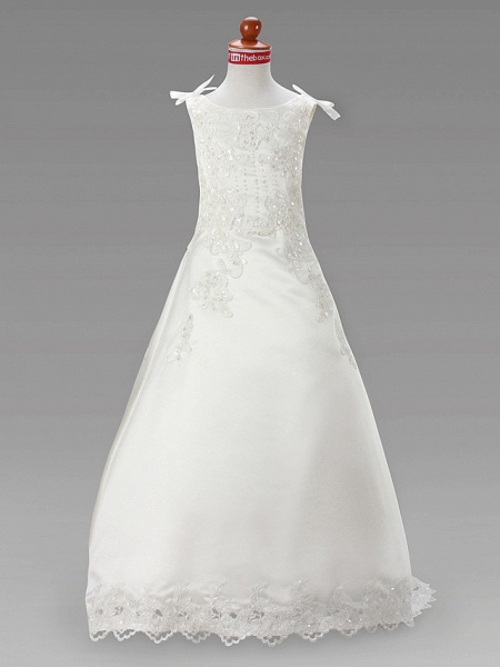 A-Line Court Train / Sweep / Brush Train Wedding / First Communion Flower Girl Dresses - Satin Sleeveless Jewel Neck With Beading / Spring / Summer / Fall / Winter_1