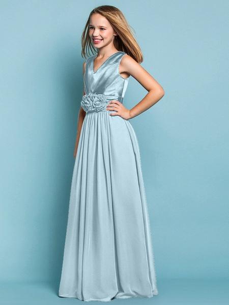Sheath / Column V Neck Floor Length Chiffon Junior Bridesmaid Dress With Flower / Spring / Summer / Fall / Apple / Hourglass_40