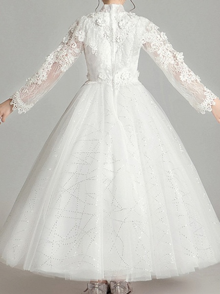 Ball Gown Ankle Length First Communion Flower Girl Dresses - Polyester Long Sleeve High Neck With Appliques_5