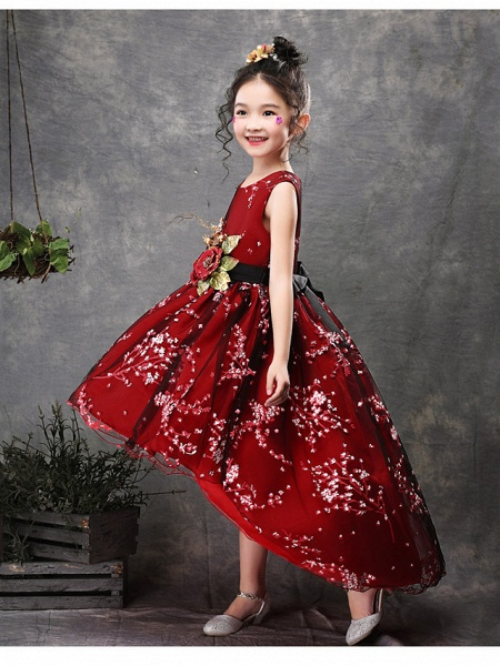 Princess Asymmetrical Wedding / Party / Pageant Flower Girl Dresses - Satin / Tulle Sleeveless Jewel Neck With Belt / Appliques_2