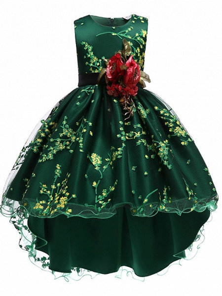 Princess Asymmetrical Wedding / Party / Pageant Flower Girl Dresses - Satin / Tulle Sleeveless Jewel Neck With Belt / Appliques_8