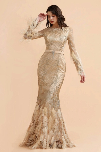 Champange Mermaid Long sleeves V-back Prom Dress_5