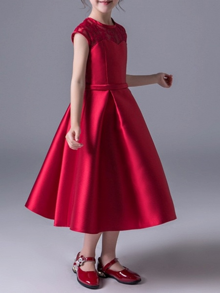 A-Line Jewel Neck Ankle Length Poly&Cotton Blend Junior Bridesmaid Dress With Lace_3