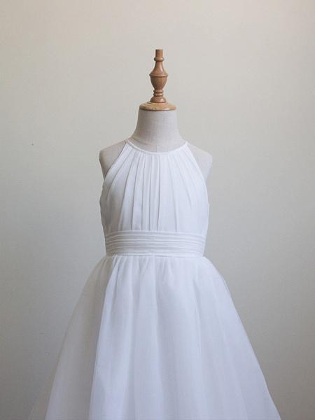 Princess Long Length Christmas / Birthday / First Communion Flower Girl Dresses - Chiffon / Organza / Tulle Sleeveless Jewel Neck With Draping_4