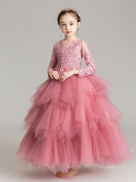 Ball Gown Floor Length First Communion Flower Girl Dresses - Chiffon Sleeveless Jewel Neck With Tier / Crystals / Rhinestones_5