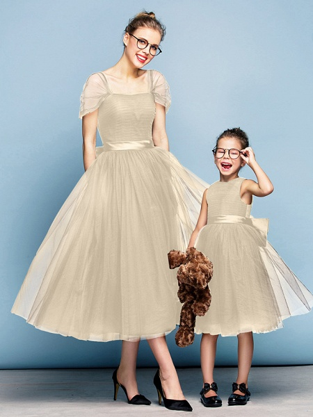 Princess Tea Length Party / Prom / Formal Evening Flower Girl Dresses - Tulle Short Sleeve Square Neck With Bow(S) / Ruched / Elegant_21