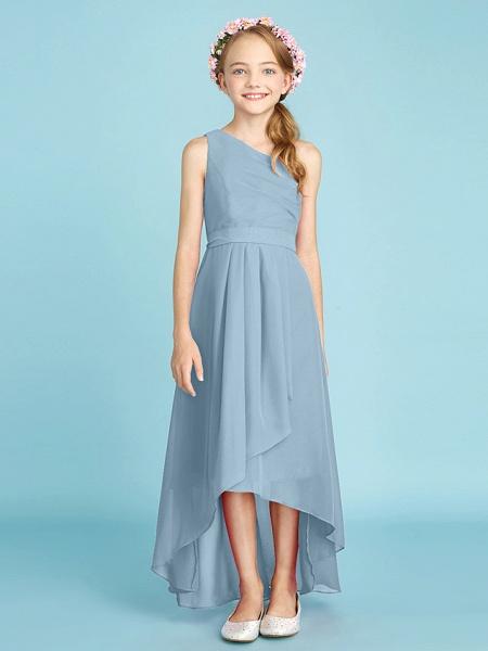 A-Line One Shoulder Asymmetrical Chiffon Junior Bridesmaid Dress With Sash / Ribbon / Bow(S) / Side Draping / Natural_34