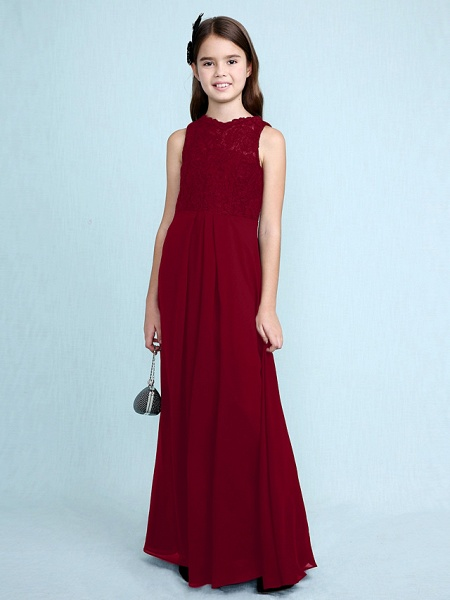 Sheath / Column Scoop Neck Floor Length Chiffon / Lace Junior Bridesmaid Dress With Lace / Natural_18