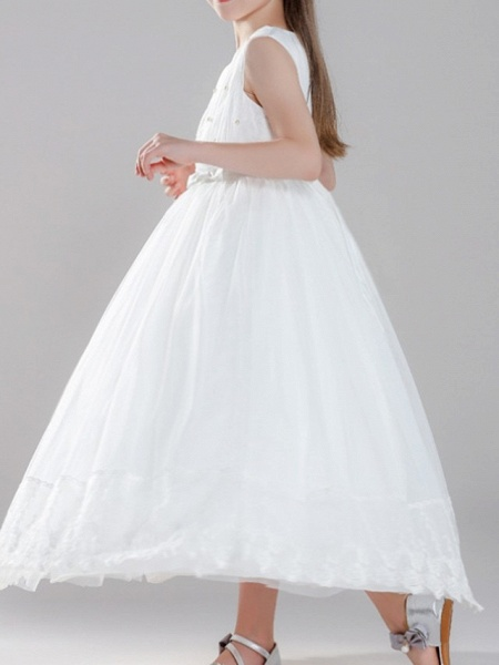 A-Line Ankle Length First Communion Flower Girl Dresses - Polyester Sleeveless Jewel Neck With Pearls_2