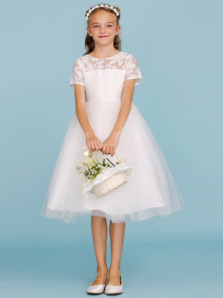 Princess / A-Line Crew Neck Knee Length Lace / Tulle Junior Bridesmaid Dress With Pleats / Wedding Party / See Through_4