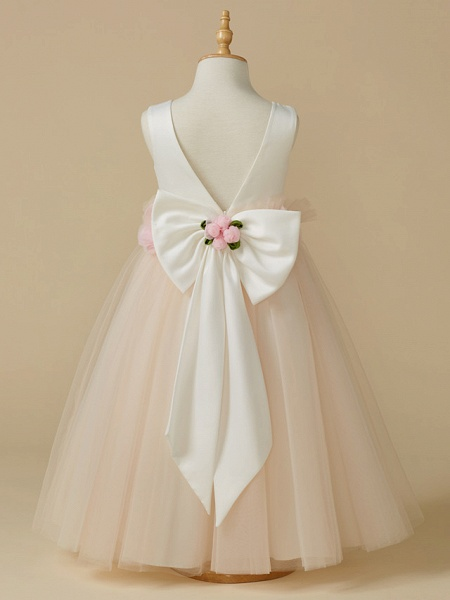A-Line Tea Length Pageant Flower Girl Dresses - Satin / Tulle Sleeveless Jewel Neck With Bow(S) / Flower_2