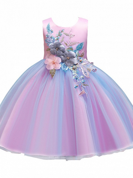 Princess Knee Length Wedding / Party / Pageant Flower Girl Dresses - Satin / Tulle / Cotton Sleeveless Jewel Neck With Belt / Embroidery / Appliques_4