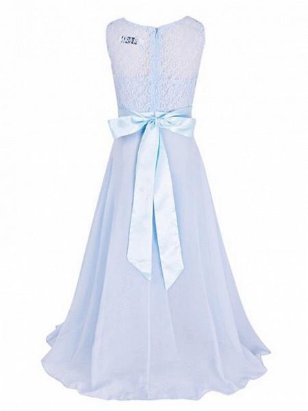 A-Line Floor Length Wedding / Party Flower Girl Dresses - Chiffon / Lace Sleeveless Jewel Neck With Sash / Ribbon_13