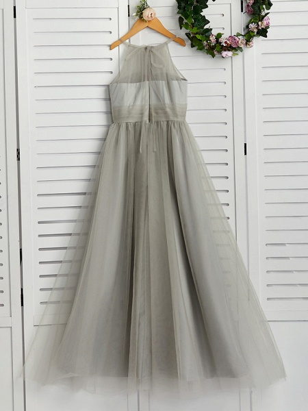 A-Line Crew Neck Floor Length Tulle Junior Bridesmaid Dress With Ruching_2