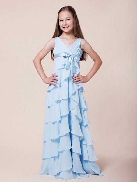 A-Line V Neck Floor Length Chiffon / Stretch Satin Junior Bridesmaid Dress With Bow(S) / Empire / Spring / Summer / Fall / Winter_2