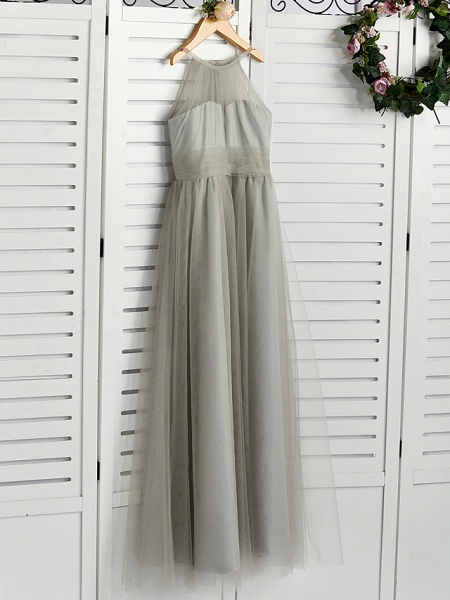 A-Line Crew Neck Floor Length Tulle Junior Bridesmaid Dress With Ruching_3