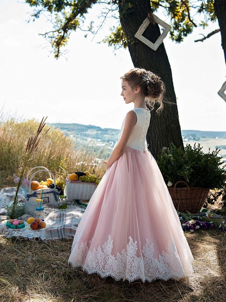 Princess Floor Length Party / Birthday / Pageant Flower Girl Dresses - Tulle / Cotton Sleeveless Jewel Neck With Lace / Belt / Appliques_2