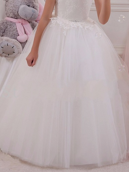 Princess Maxi Wedding / Birthday / First Communion Flower Girl Dresses - Lace / Tulle / Cotton Sleeveless Scalloped Neckline With Lace / Appliques / Crystals / Rhinestones_4