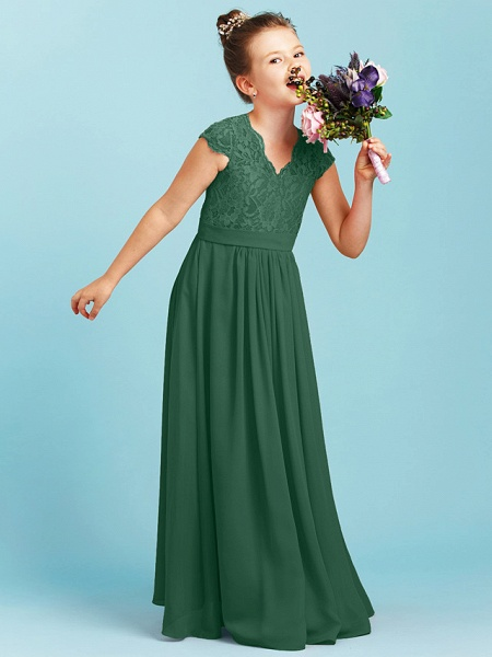 Princess / A-Line V Neck Floor Length Chiffon / Lace Junior Bridesmaid Dress With Sash / Ribbon / Pleats / Wedding Party_43