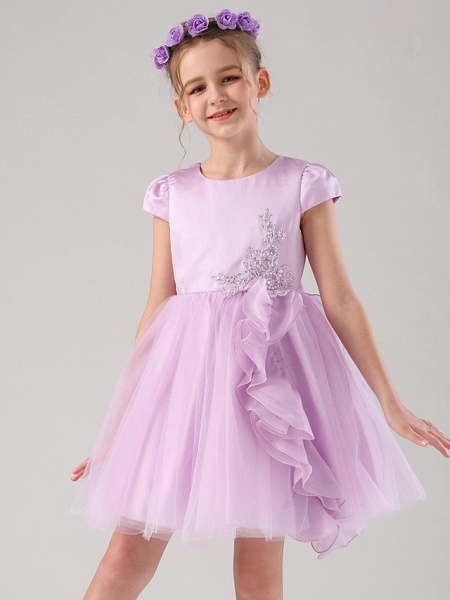 Princess / Ball Gown Medium Length Wedding / Event / Party Flower Girl Dresses - Satin / Tulle Cap Sleeve Jewel Neck With Embroidery / Appliques / Side Draping_4