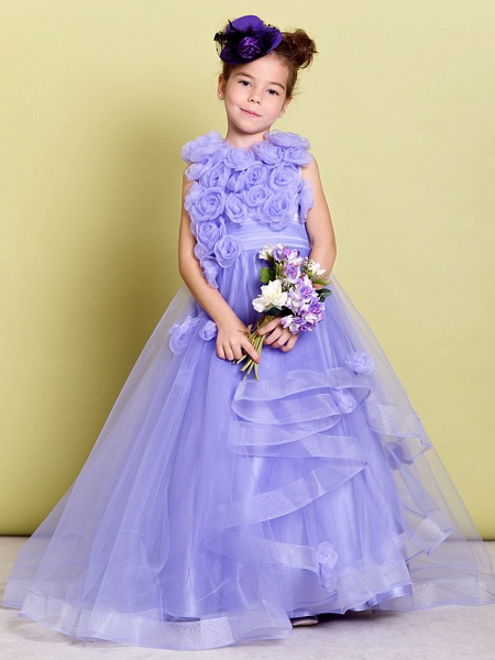 A-Line Sweep / Brush Train Pageant Flower Girl Dresses - Organza Sleeveless Jewel Neck With Ruched / Flower_2