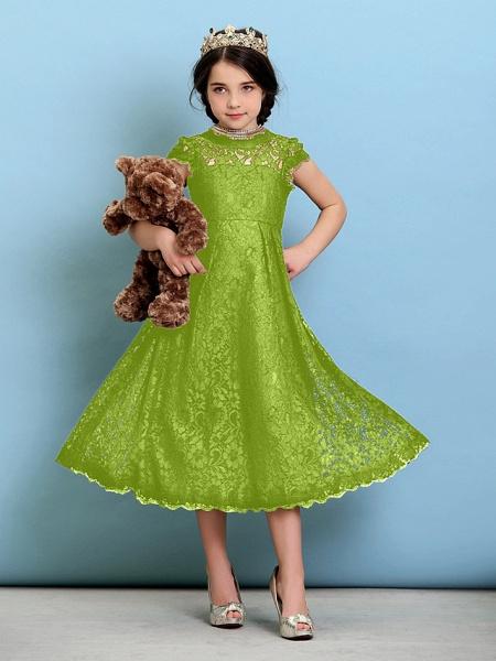 Princess / A-Line Jewel Neck Tea Length Lace Junior Bridesmaid Dress With Pleats / Natural_29