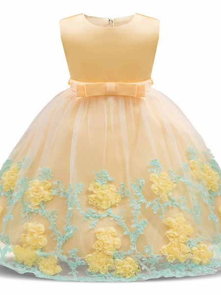 Princess Long Length Wedding / Party / Pageant Flower Girl Dresses - Satin / Tulle Sleeveless Jewel Neck With Petal / Bow(S) / Appliques_1