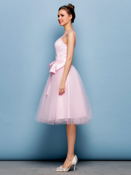 Ball Gown Mini Me Cocktail Party Dress Straps Sleeveless Knee Length Tulle With Sash / Ribbon Bow(S) Beading_5