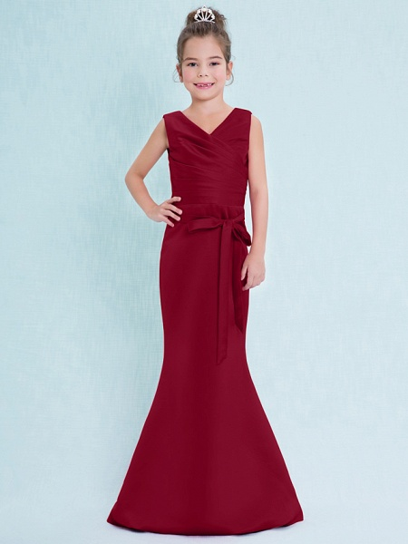Mermaid / Trumpet V Neck Floor Length Satin Junior Bridesmaid Dress With Criss Cross / Natural_16