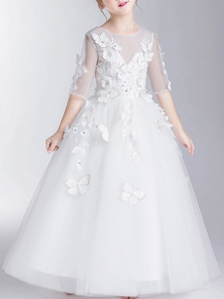 Ball Gown Floor Length First Communion Flower Girl Dresses - Polyester Half Sleeve Jewel Neck With Appliques_3