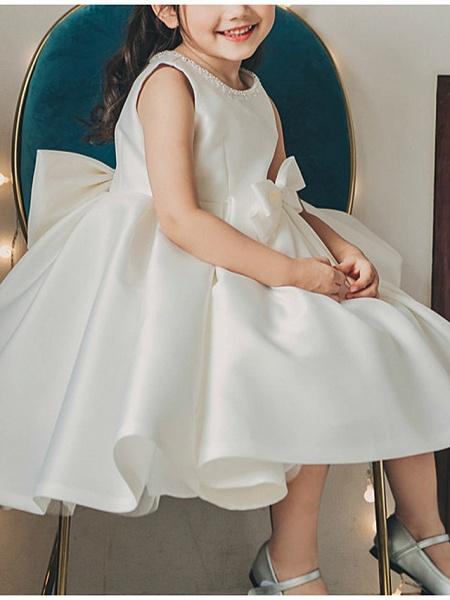 Princess / Ball Gown Tea Length Wedding / Party Flower Girl Dresses - Satin Sleeveless Jewel Neck With Bow(S) / Pleats_1