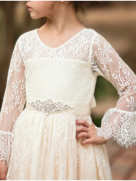 Ball Gown Asymmetrical Wedding Flower Girl Dresses - Lace Long Sleeve V Neck With Bow(S) / Appliques / Solid_4