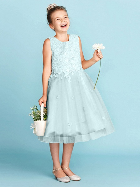 Princess / A-Line Jewel Neck Knee Length Lace / Tulle Junior Bridesmaid Dress With Bow(S) / Appliques / Wedding Party_14