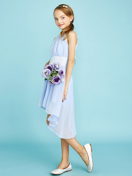 Sheath / Column Jewel Neck Asymmetrical Chiffon Junior Bridesmaid Dress With Sequin / Natural_5