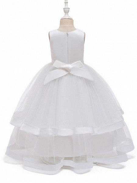 Princess / Ball Gown Floor Length Wedding / Party Flower Girl Dresses - Tulle Sleeveless Jewel Neck With Bow(S) / Appliques / Cascading Ruffles_10
